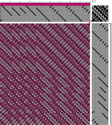 Networked Weaving Draft 1 detail (for Magenta Scarf)
