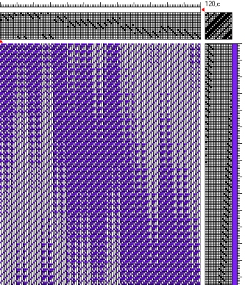 Draft 1 - Networked Twill, solid colors in warp and weft