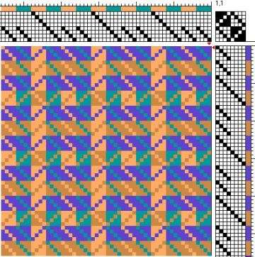 Draft for 8-shaft, 2 block, color-and-weave Turned Twill