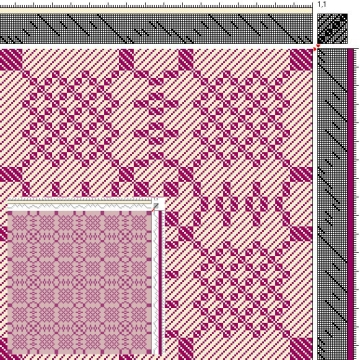 Draft for Turned Twill Woven Table Runner, 4 blocks