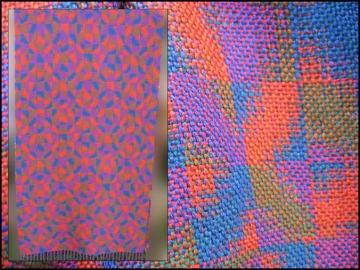 Double Weave Mosaic Shawl, Tencel, 2014