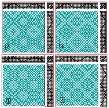Drafts for Lace & Spot Weave Variations - Samples on 8 shafts