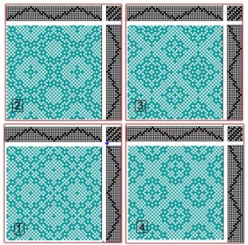 Drafts for Lace & Spot Weave Variations - Samples on 8 shafts
