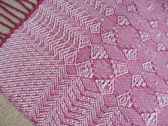 Fancy Lace & Spot Weave Variation - warp & weft floats on plain weave, pearl cotton, 2014 (close-up of corner)