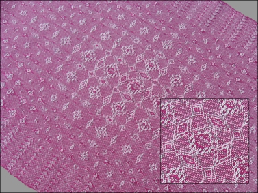 Fancy Lace & Spot Weave Variation - warp & weft floats on plain weave, pearl cotton, 2014 (with close-up of center)