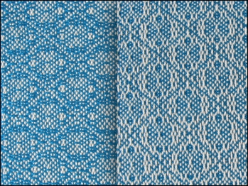 Lace & Spot Weave Variation #1, white warp, blue weft