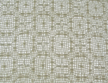 Lace & Spot Weave Variation #1, white warp, white weft
