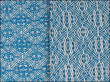 Lace & Spot Weave Variation #3, white warp, blue weft