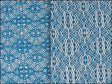 Lace & Spot Weave Variation #3, white warp, blue weft
