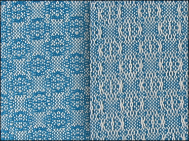 Lace & Spot Weave Variation #4, white warp, blue weft