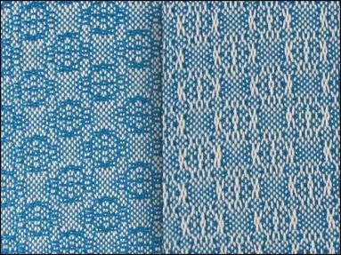 Lace & Spot Weave Variation #4, white warp, blue weft