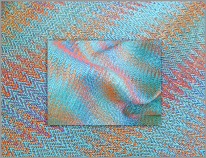 Interleaved Echo Weave Scarf, hand-dyed Tencel, woven on 16 shafts, 2014