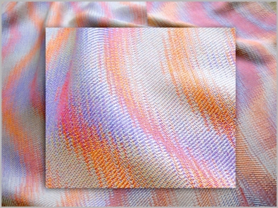 Interleaved Echo Weave Scarf woven on 16 shafts, hand-dyed Tencel, 2014