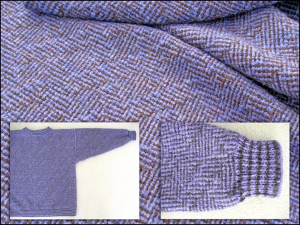 Shadow weave woolen fabric after wet finishing, pullover, and close-up of sleeve with knitted cuff, 2014