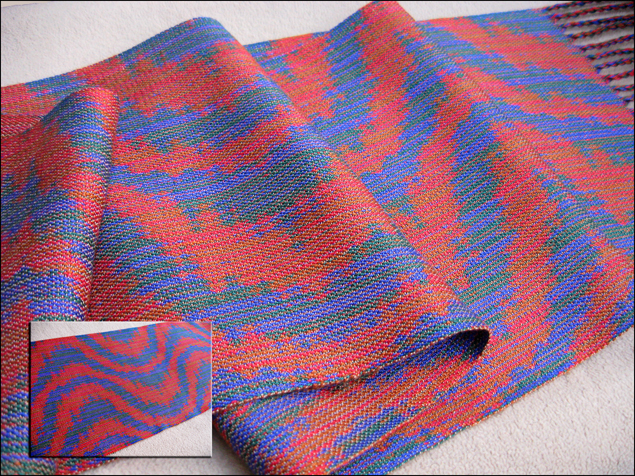 Turned Taquete Scarf woven on 12 shafts, Tencel & cotton, 2015
