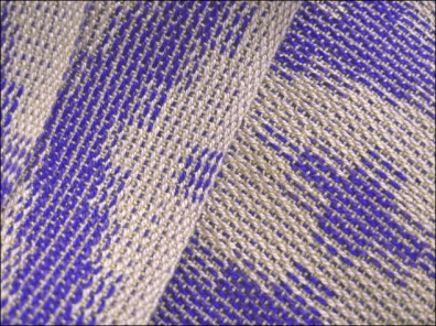 Turned Taquete Scarf woven on 8 shafts, Tencel & rayon, 2015 (detail)