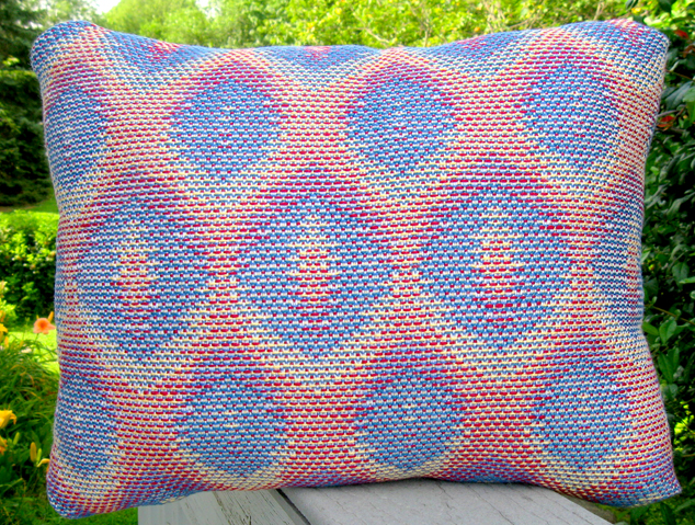 Turned Taquete Variation, fabric for pillow woven on 12 shafts, pearl cotton warp & acryllic weft, 2015