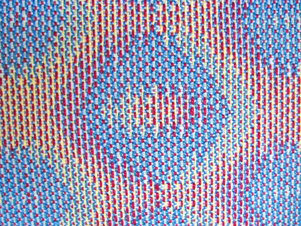 Turned Taquete Variation, fabric woven on 12 shafts, pearl cotton warp, acrylic weft, 2015 (close-up)