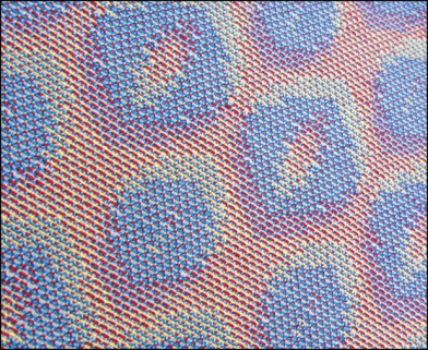 Turned Taquete Variation, fabric woven on 12 shafts, pearl cotton warp, acryllic weft, 2015