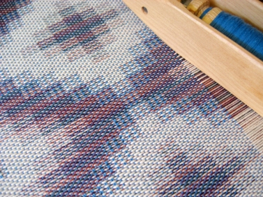 Turned Taquete Variation, fabric woven on 8 shafts, Tencel & cotton, 2015 (blue weft version on the loom)