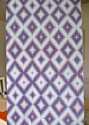 Turned Taquete Variation, fabric woven on 8 shafts, Tencel & cotton, 2015 (blue weft version)