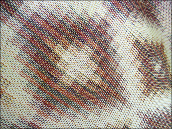 Turned Taquete Variation, fabric woven on 8 shafts, Tencel, cotton & rayon, 2015 (yellow weft version)