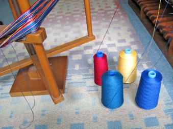 Winding the pearl cotton warp