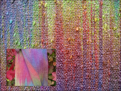 Painted Warp Plain Weave Scarf, cotton & rayon, 2015 (close-up and from a distance)
