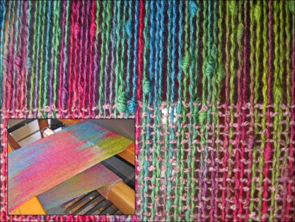 Painted Warp Plain Weave Scarf, cotton & rayon, 2015 (work in progress on the loom)