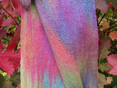 Painted Warp Plain Weave Scarf, cotton & rayon, 2015