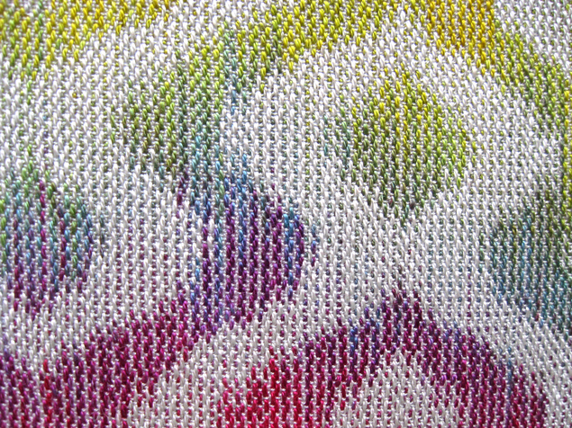 Painted Warp Turned Taquete Scarf, 12 shafts, Tencel, 2015 (close-up)