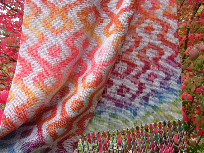 Painted Warp Turned Taquete Scarf, 12 shafts, Tencel, 2015