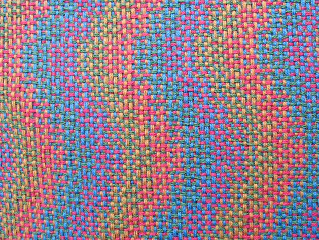Four-Color Double Weave (integrated) Sample #1, 8 shafts & 10 treadles, cotton, 2016