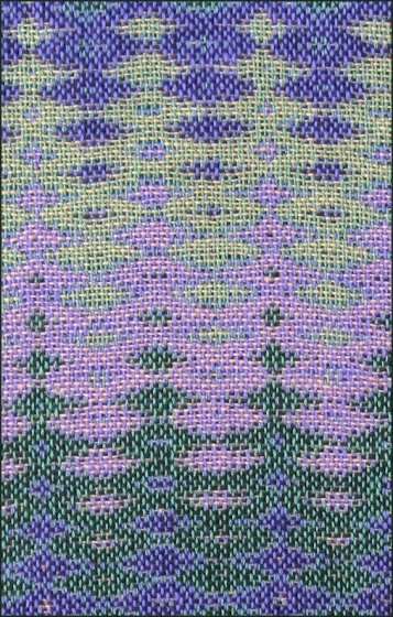 Four-Color Double Weave Sample, 12 shafts & 16 treadles, cotton, 2016