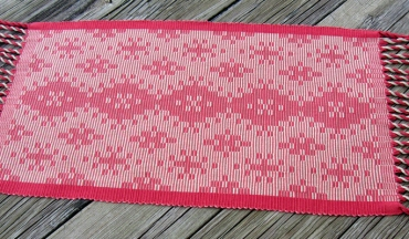 Warp Rep Coral Runner, pearl cotton, 14 x 25 inches, 2017